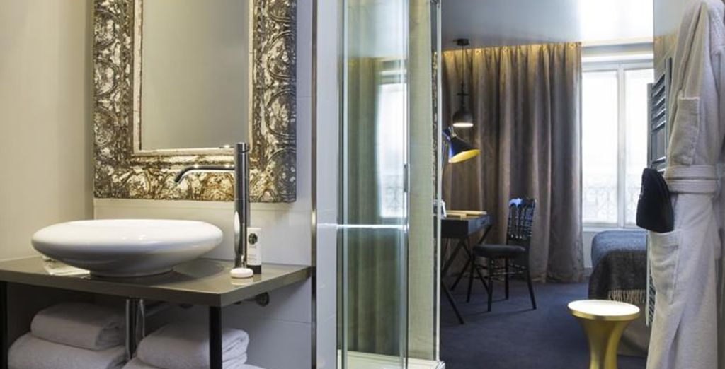 Each is individually styled, with a sleek bathroom to match