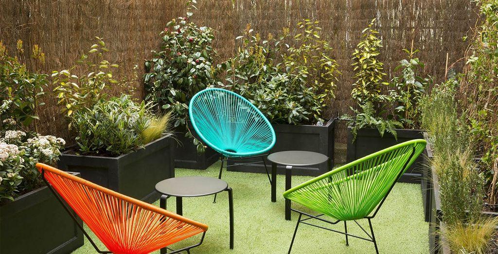 Or in the pretty garden