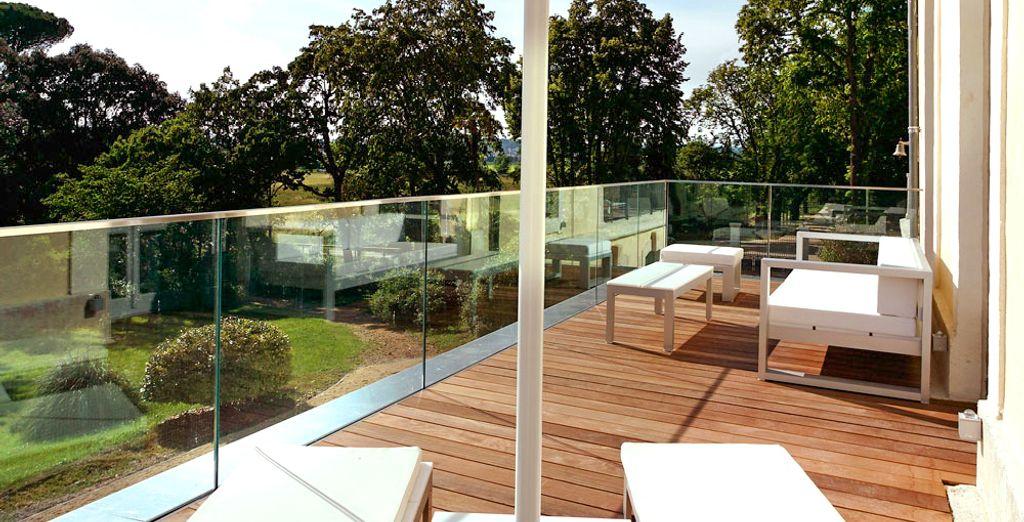 Wählen Sie ein Deluxe Zimmer mit Terrasse für einen Ausblick in den Garten