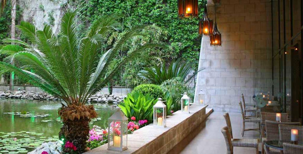 Genießen Sie die ruhigen Klänge der Wasserfallbar