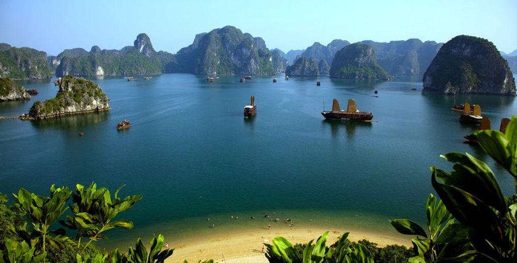 Durchqueren Sie die berühmte Ha Long Bay...