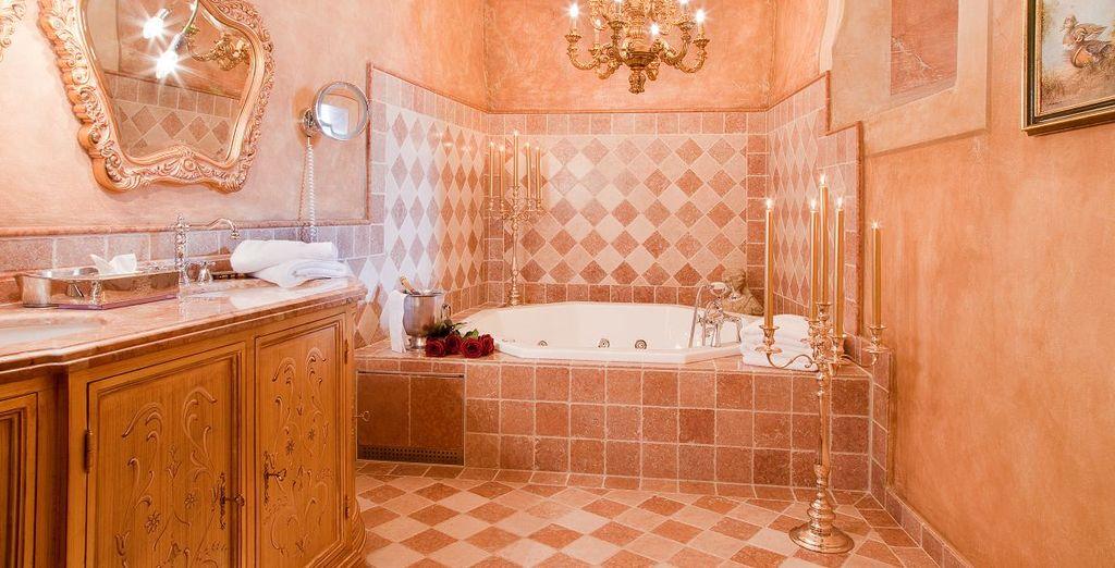 Entspannen Sie bei einem heißen Bad