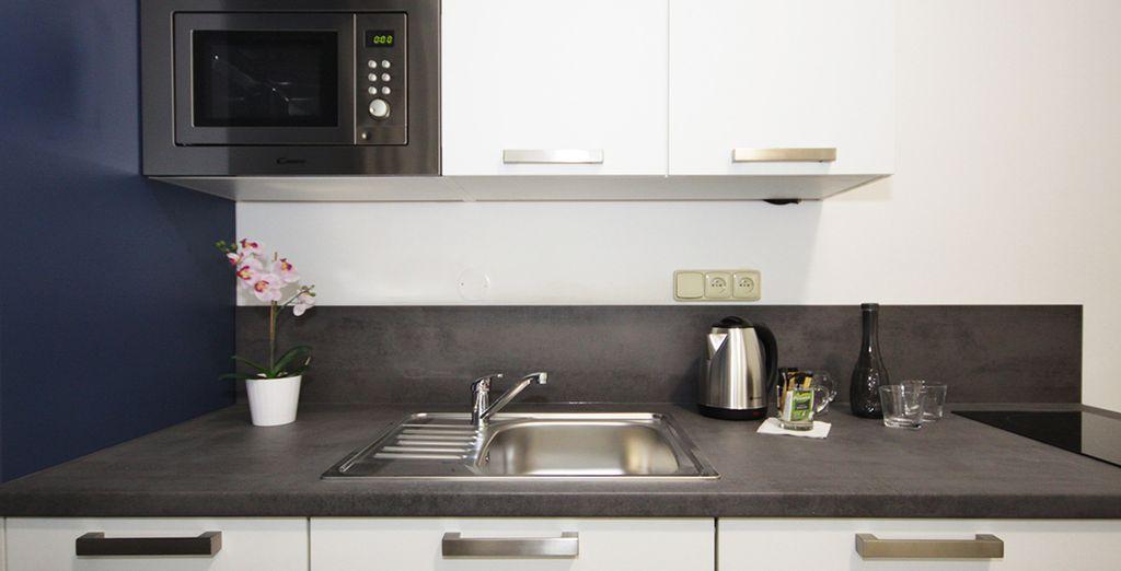 Entscheiden Sie sich für eine Deluxe Suite und genießen Sie die Kochnische