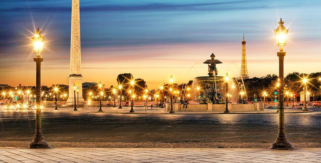 Oder den Place de la Concorde bei Dämmerung