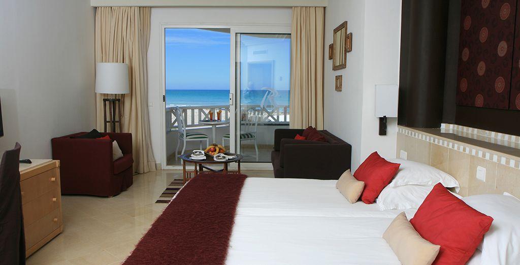 Ihr Zimmer erwartet Sie mit einem wunderschönen Blick auf das Meer