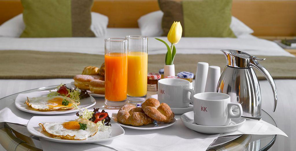 Wenn es Ihnen lieber ist, können Sie Ihr Frühstück aber auch auf Ihrem eigenen Zimmer verspeisen