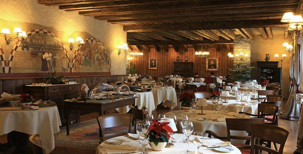 Das Restaurant La Fenêtre, groß und hell mit Blick auf den Mont Blanc