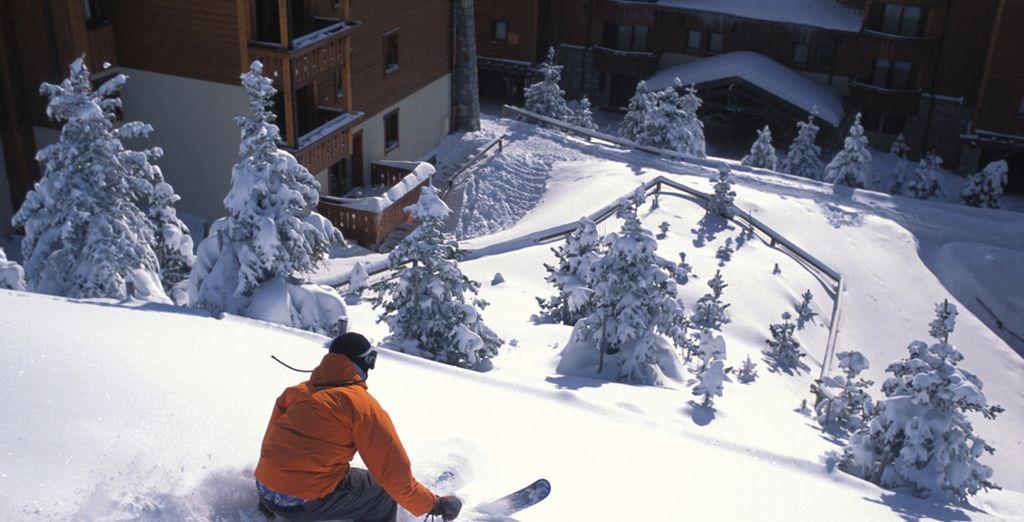 Alójate frente a la estación de esquí de Les Menuires