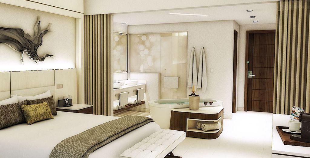 La habitación ideal para tu estancia frente al mar Caribe