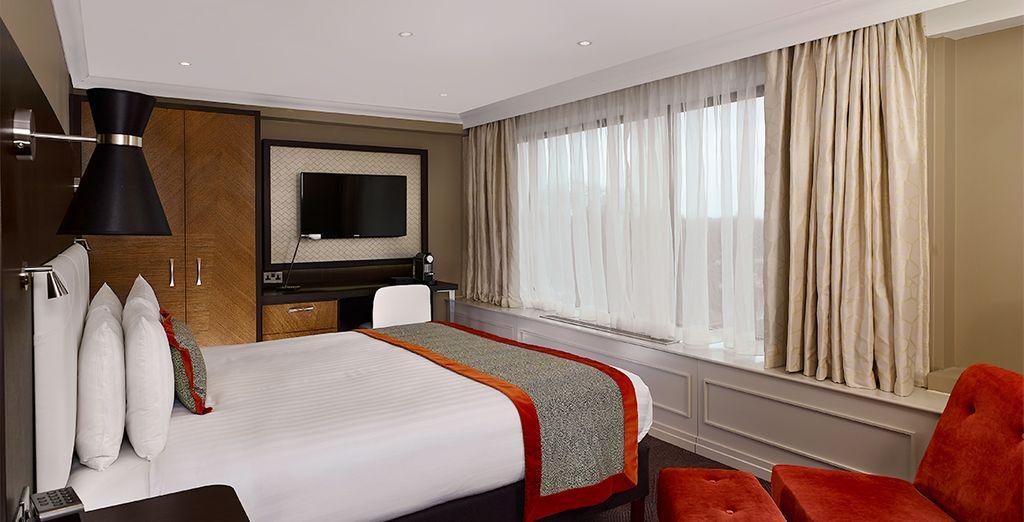 Descanse en una cómoda y contemporánea habitación