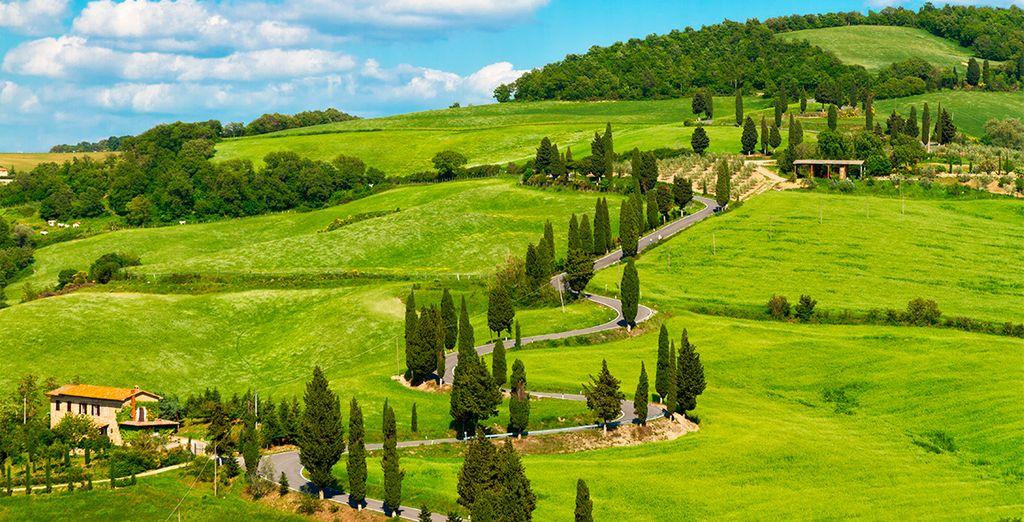 Panorámica magnífica en las colinas florentinas
