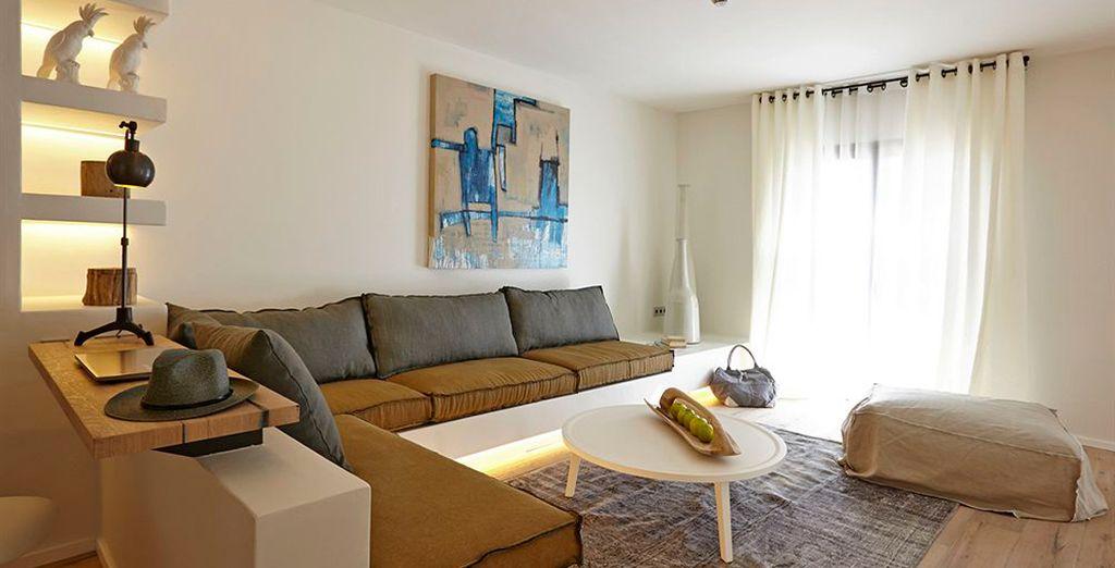 Con una sala de estar para los momentos de relax
