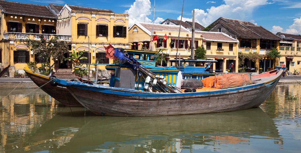 El puerto de casas tradicionales en Hoi An...