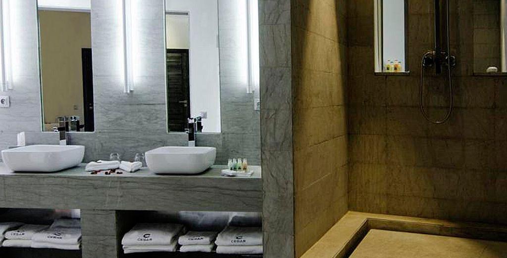 Con un completo y lujoso baño