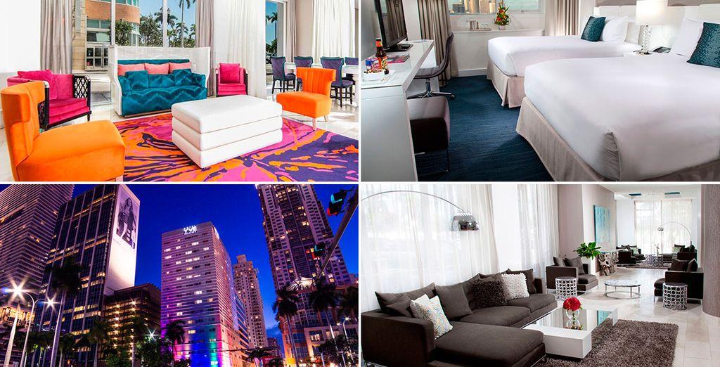 Pasarás dos noches en Miami Downtown alojándote en YVE Hotel Miami 3*
