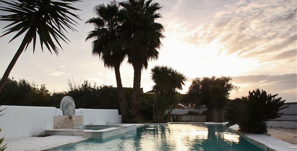 Alberga un jardín tranquilo con piscina al aire libre