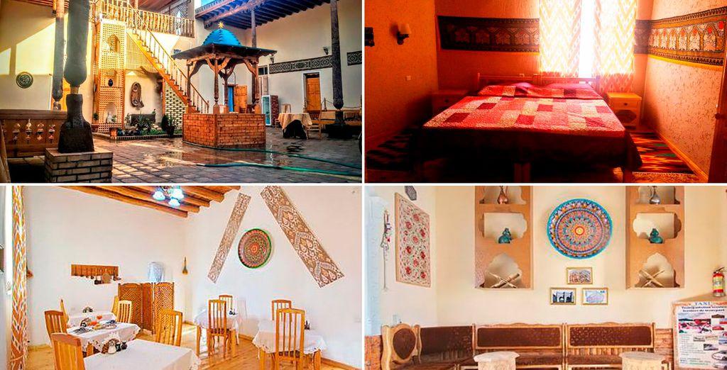 En Jiva, te alojarás en el hotel Qosha Darvoza