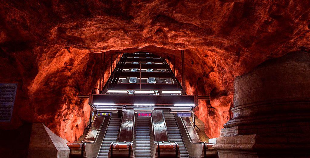 La estación de Radhuset muestra la vanguardia y modernidad de la capital sueca