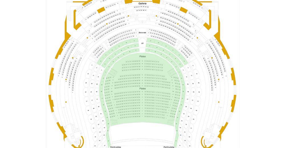 Mapa del teatro. Las localidades coloreadas remarcan la zona de sus entradas.