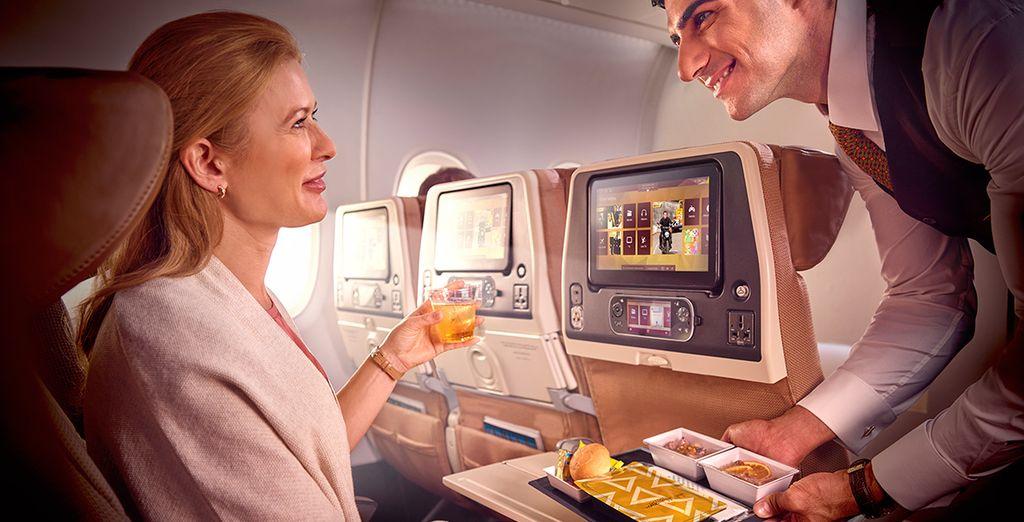A bordo te ofrecerán una amplia selección de comidas