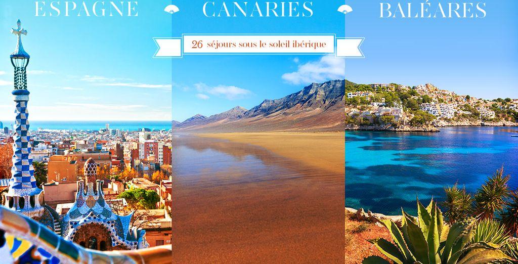 Réservez vos vacances en Espagne, aux Canaries et aux Baléares
