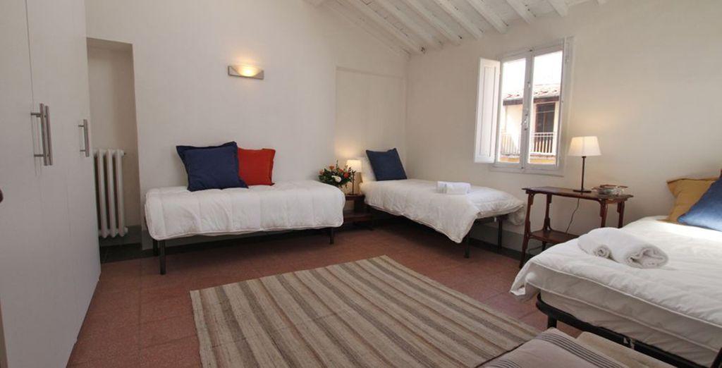 La troisième chambre avec 3 lits simples