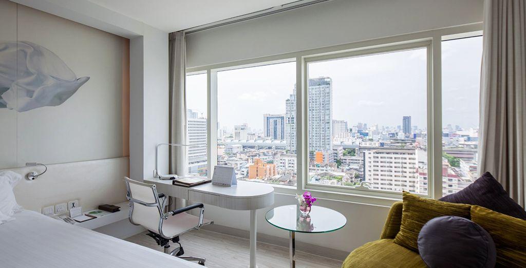 Hôtel de charme avec chambre tout confort et vue panoramique sur la ville de Bangkok