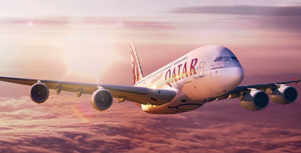 Pour ce séjour de rêve, vous profiterez d'un vol 5 étoiles avec la compagnie Qatar Airways...