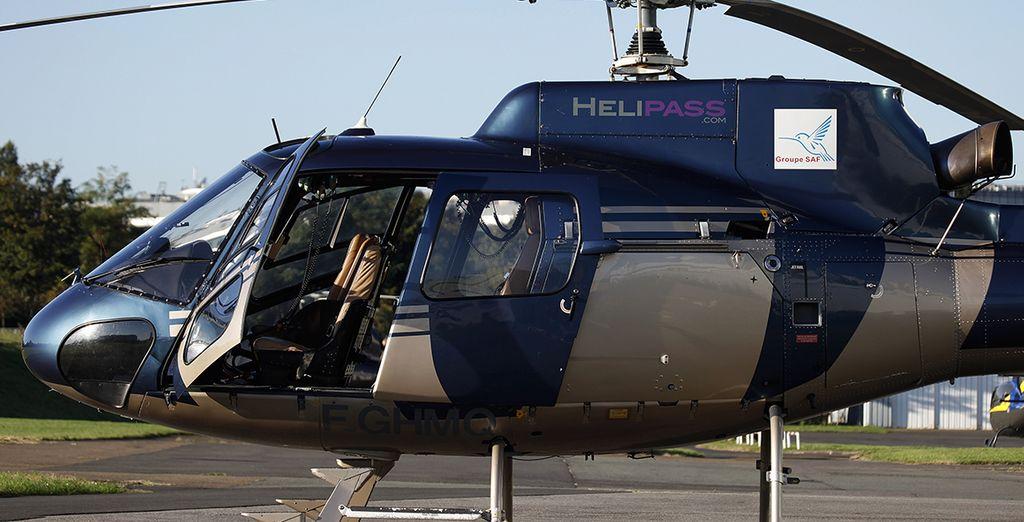 à bord d'un hélicoptère