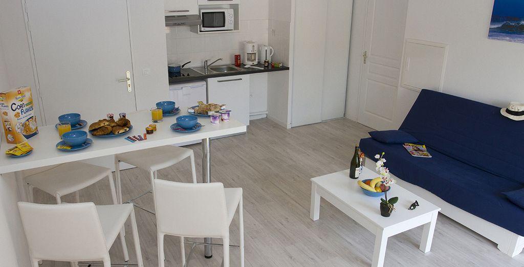 Installez vous dans votre appartement terrasse 2 pièces 4 personnes, ou en studio 2 personnes