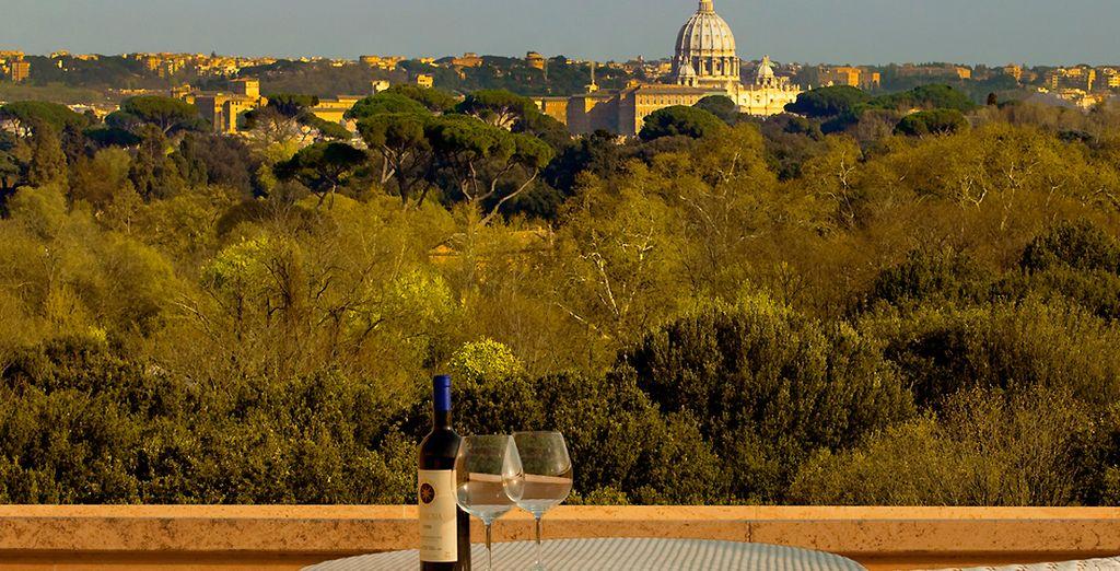 Avec vue sur le Vatican depuis la terrasse...