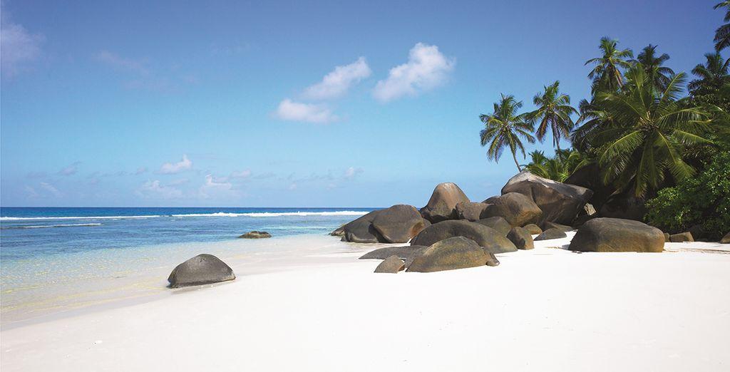Au bord de la plage paradisiaque de l'île de Silhouette