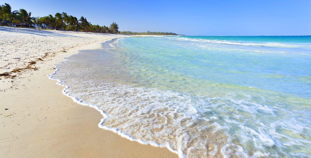 Ou marchez le long de la plage au lever du jour