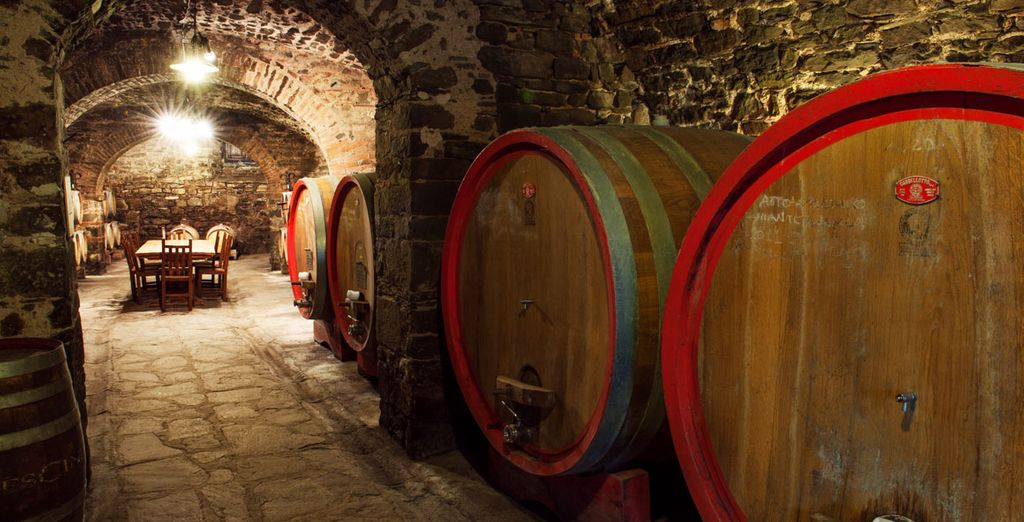 Et la cave à vin vous surprendra ! Succombez au Chianti lors de votre dégustation incluse