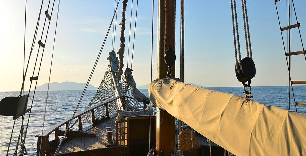 à bord d'un élégant voilier