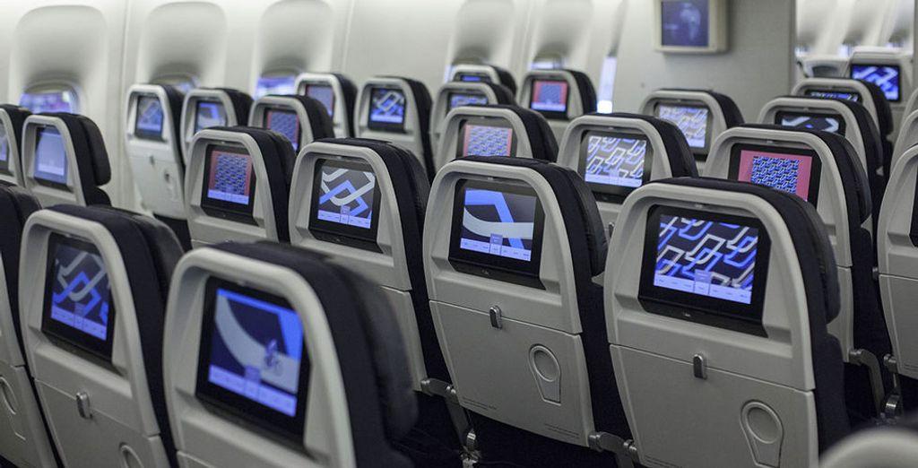 Pour un vol agréable en classe économique ou en classe affaires, en option