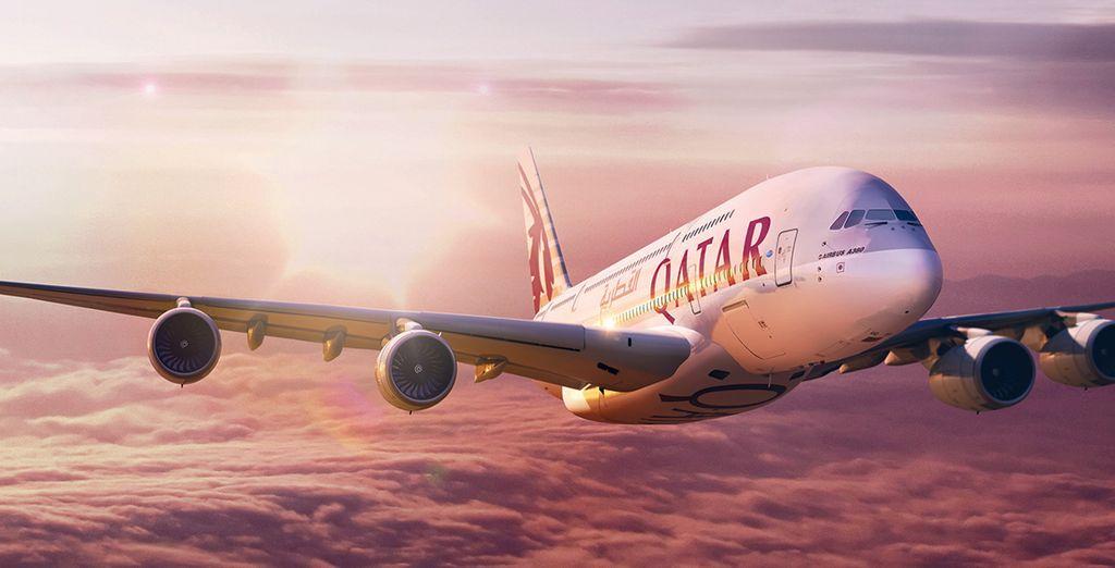 Pour rejoindre cette destination de rêve, envolez-vous avec Qatar Airways