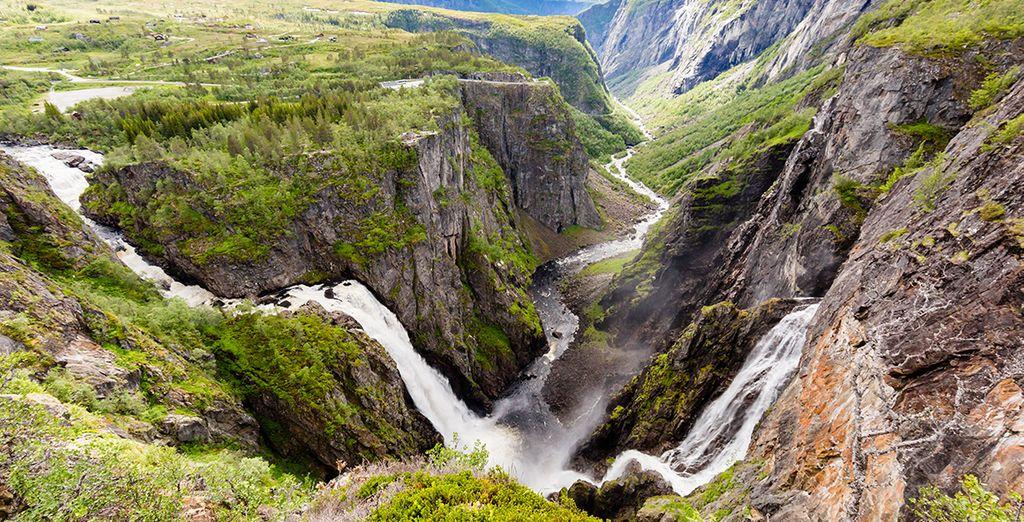 Paysage de la Norvège et de la cascade de Voringfoss