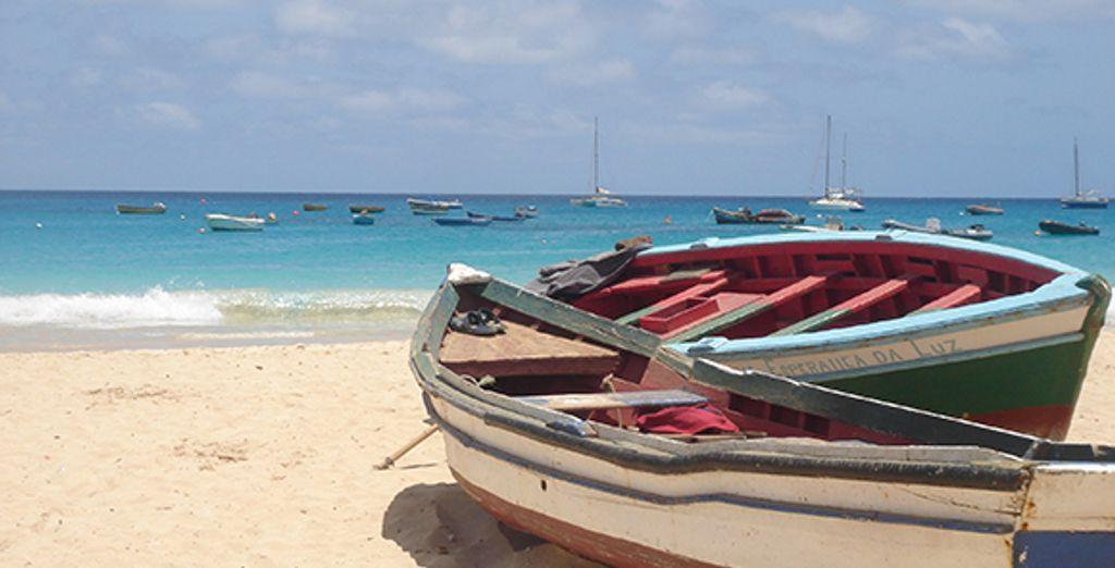 Barques de pêcheurs colorées sur la plage