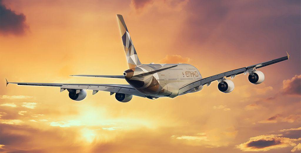 Pour rejoindre ces vacances de rêve, voyagez avec la compagnie Etihad Ariways