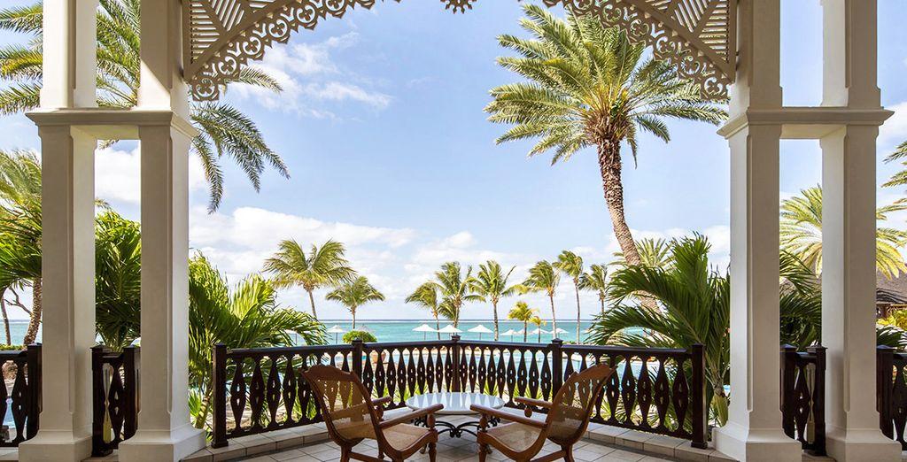 Hôtel de luxe 5 étoiles avec vue sur l'océan Indien et espace détente avec terrasse privative