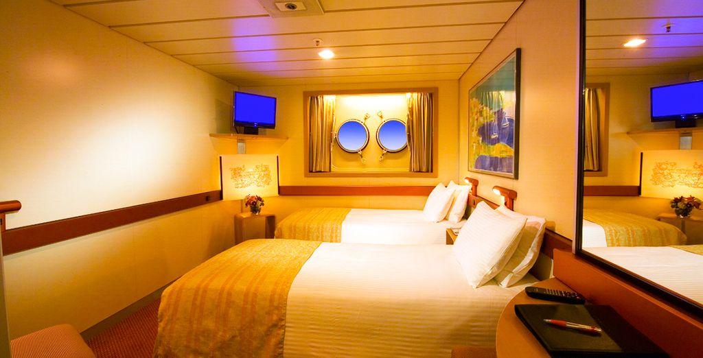 Ou pour la vue sur la mer de la cabine extérieure