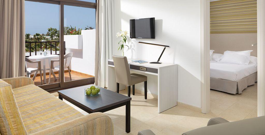 Ou bien dans une Suite, également disponible avec un superbe panorama sur la mer