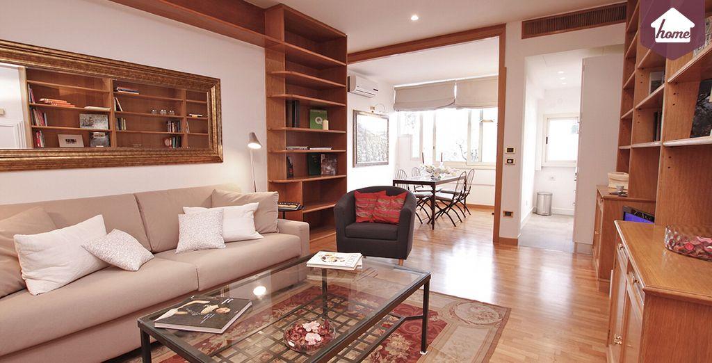 Un salon des plus spacieux - Appartement 1 chambre jusqu'à 4 personnes Rome