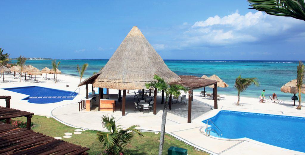 Le tipiche strutture messicane rendono l'atmosfera caraibica
