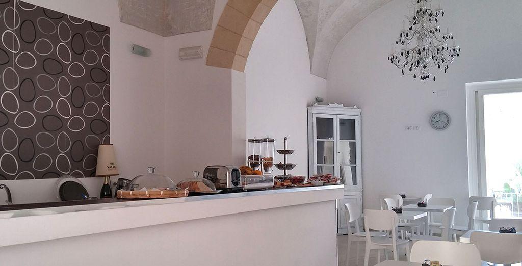 Potrete fare colazione nella luminosa sala breakfast