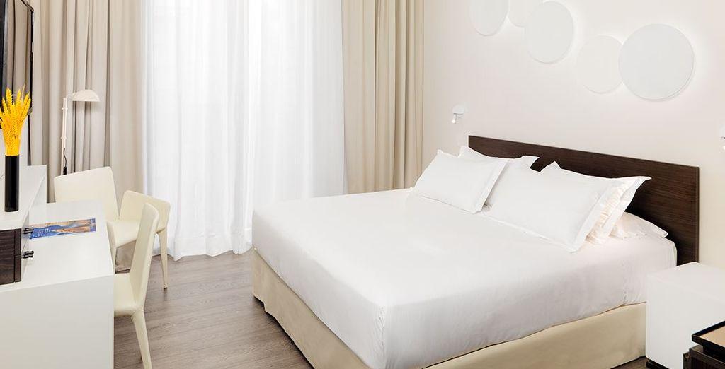 Potrete riposare in una confortevole Camera Standard, dalle tonalità chiare e luminose