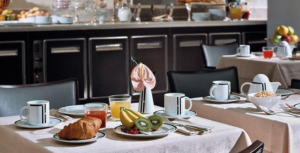 Potrete godere di un trattamento di prima colazione, ricca e abbondante