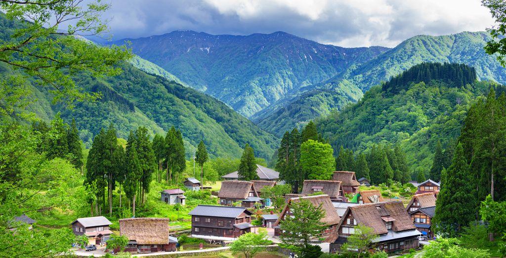 Photographie de la montagne de Gokayama