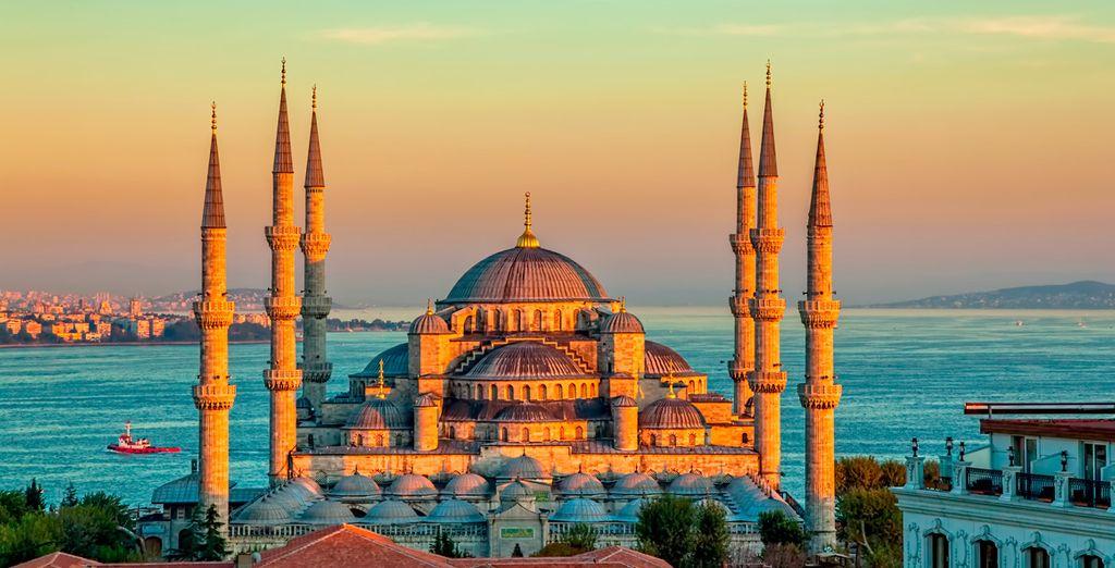 Fotografia della Moschea Blu di Istanbul, Turchia